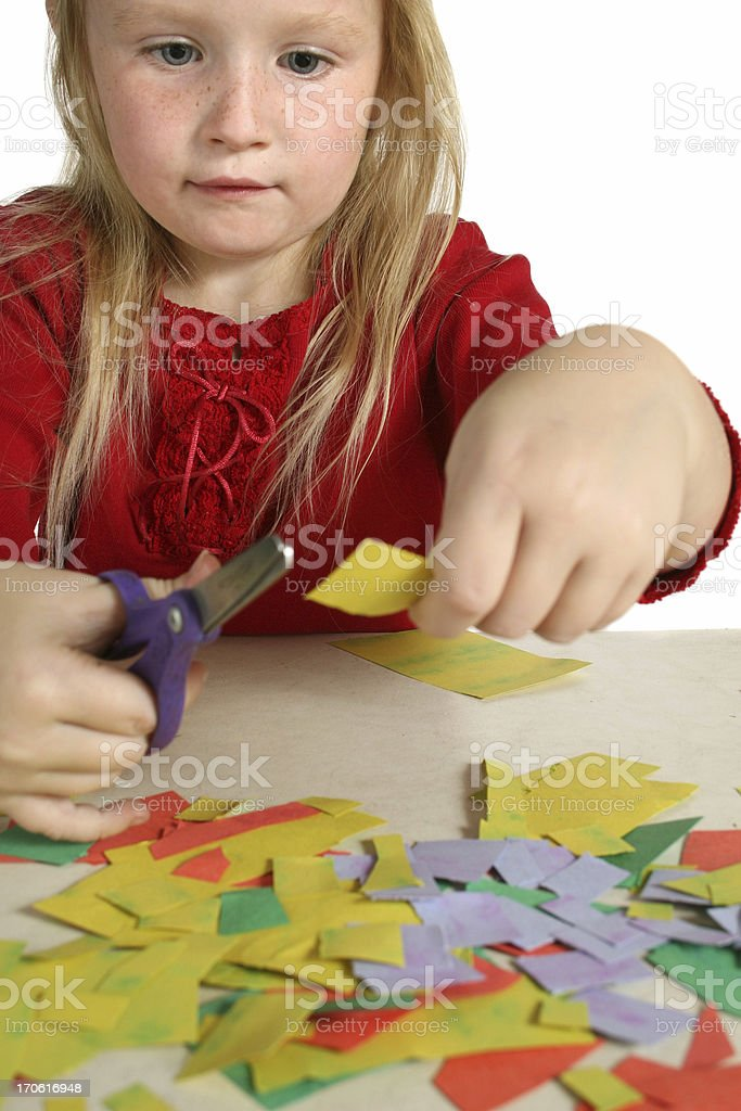 girl cutting paper royalty-free stock photo