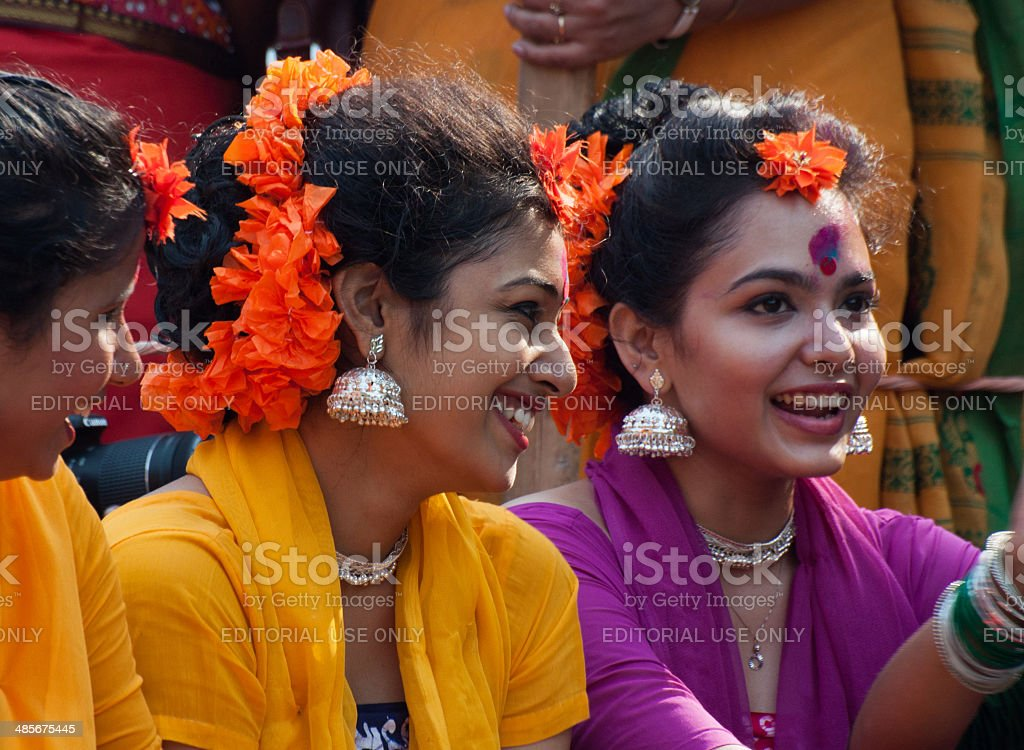 Girl dance performers at spring festival stock photo