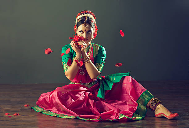 girl dancing classical indin dance kuchipudi. - classical style stock photos and pictures