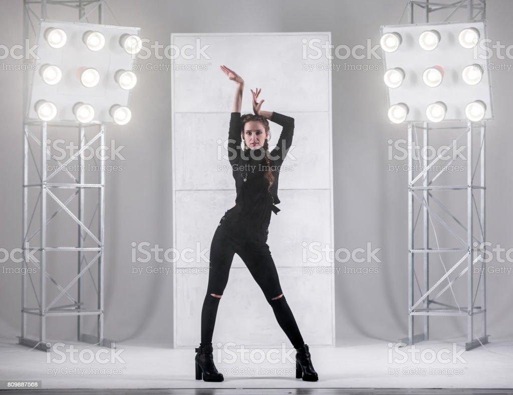 Girl Dancing In Waacking Style stock photo