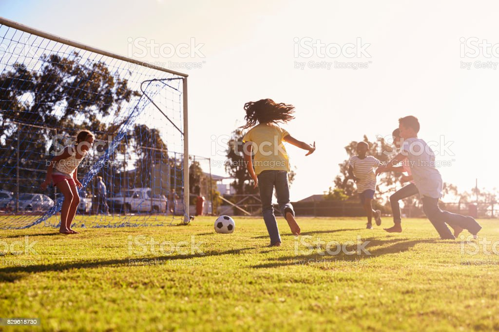 Girl defending goal at football game with family and friends stock photo