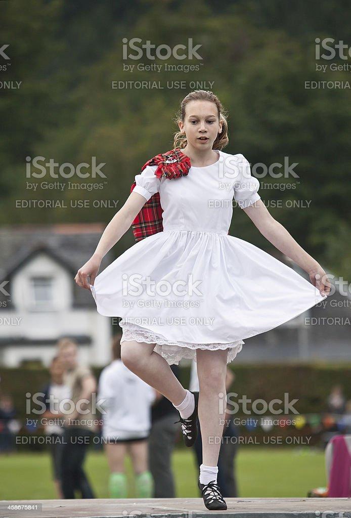 Girl demonstrating Highland Dancing wearing aboyne stock photo