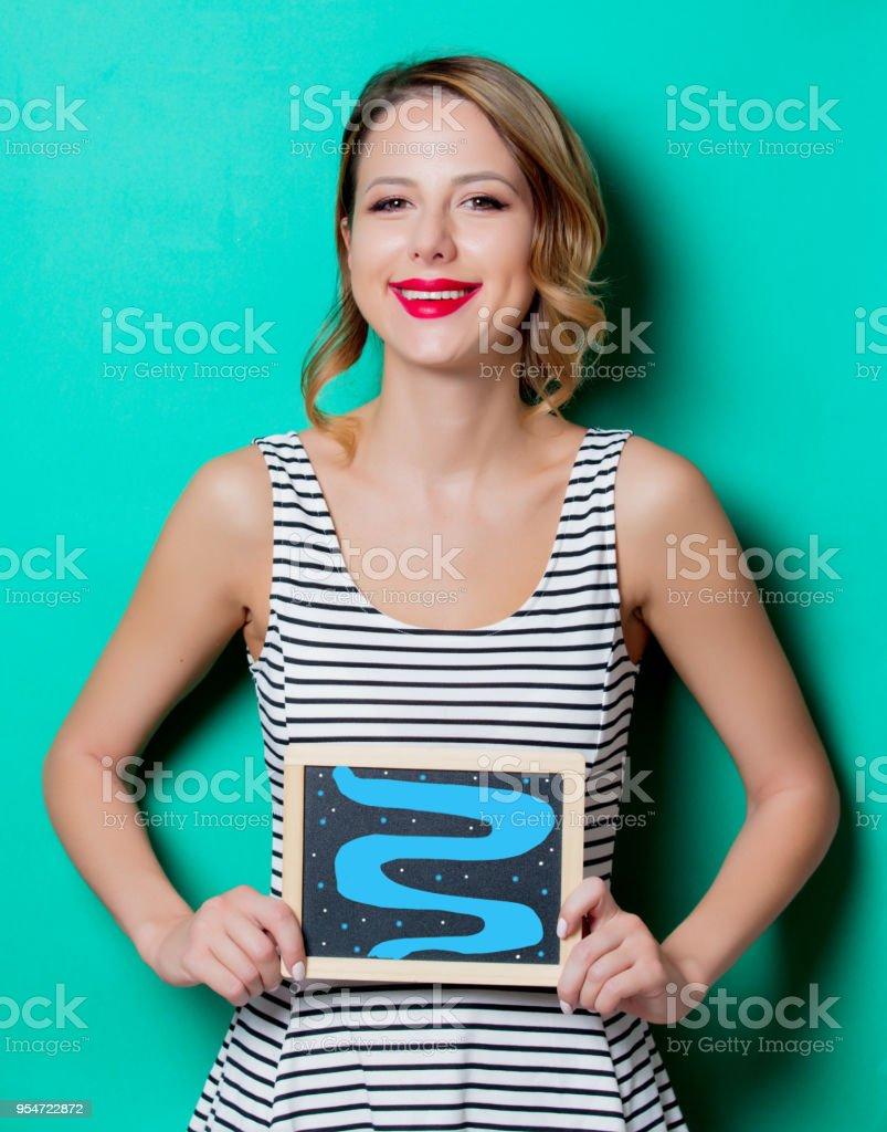 girl demonstration of good health of intestines stock photo