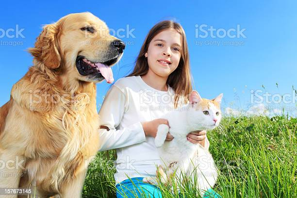 Girl dog and cat relaxing in nature picture id157673145?b=1&k=6&m=157673145&s=612x612&h=ayp m6ifauk4g0ohdfmd6skyn3anigjml7o ptv883u=