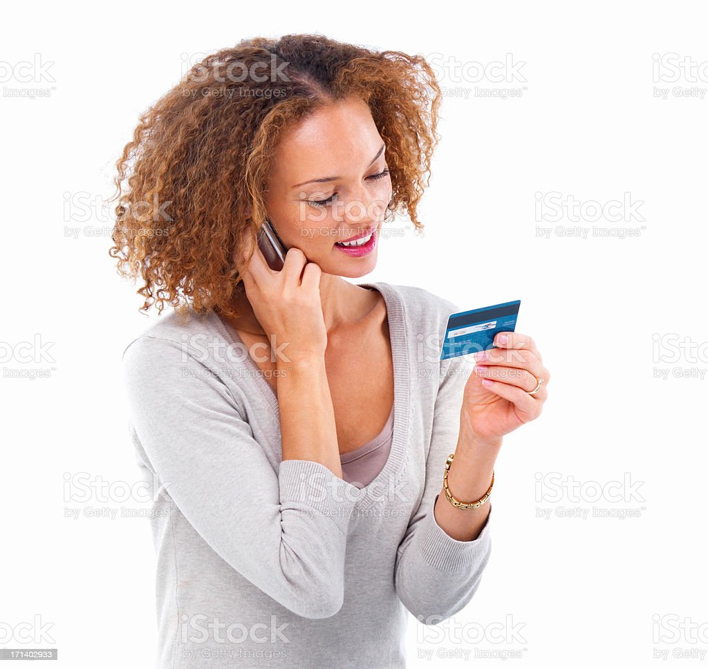 Girl doing credit card shopping isolated on white background stock photo