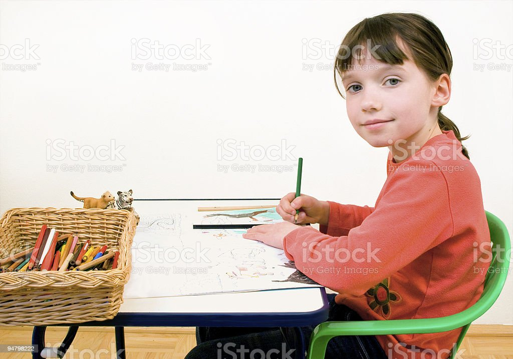 Girl doing her Homework royalty-free stock photo