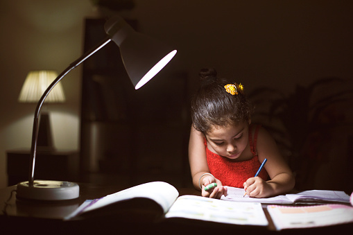Little girl doing homework in book at home