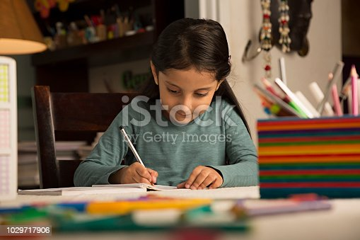 istock Girl doing homework at home - Stock image 1029717906