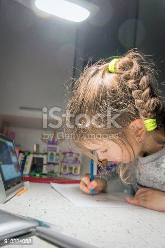 655532196 istock photo Girl doing homework for school. 913224058