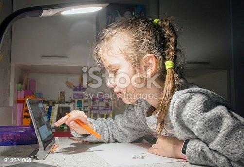 655532196 istock photo Girl doing homework for school. 913224068