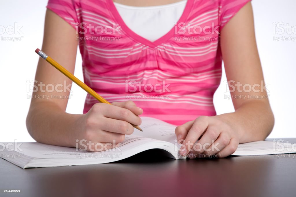 Girl Doing Homework royalty-free stock photo