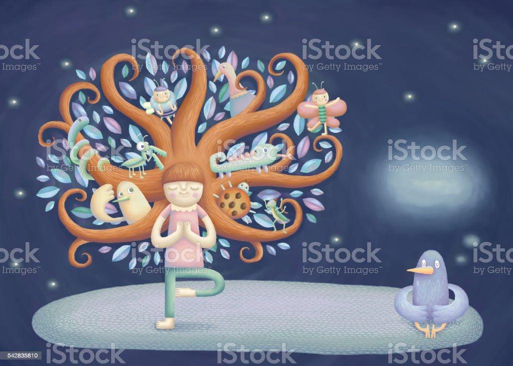 Fille faire du yoga - Photo