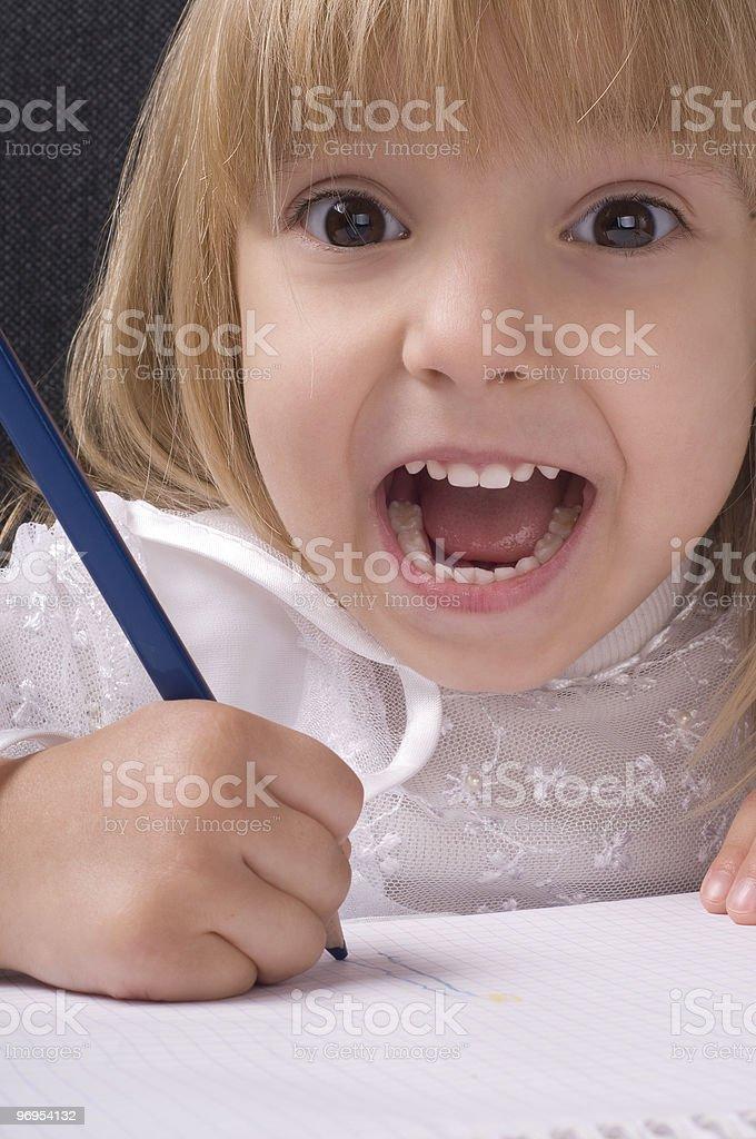 Girl drawing royalty-free stock photo
