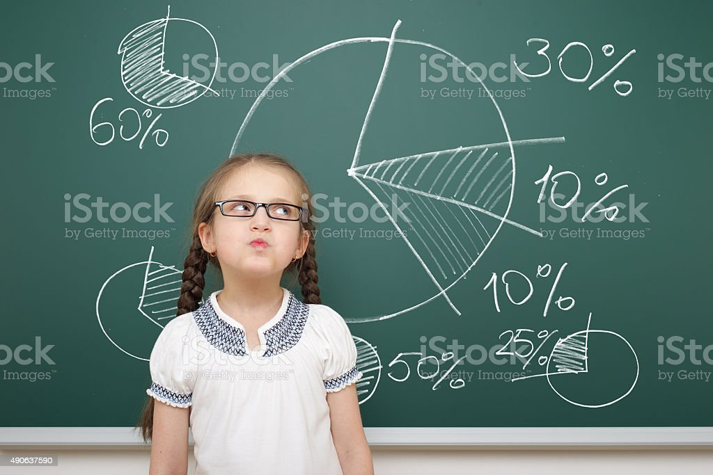 girl drawing pie chart on school board stock photo