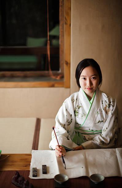 Mädchen Zeichnung Traditionelles chinesisches Gemälde – Foto