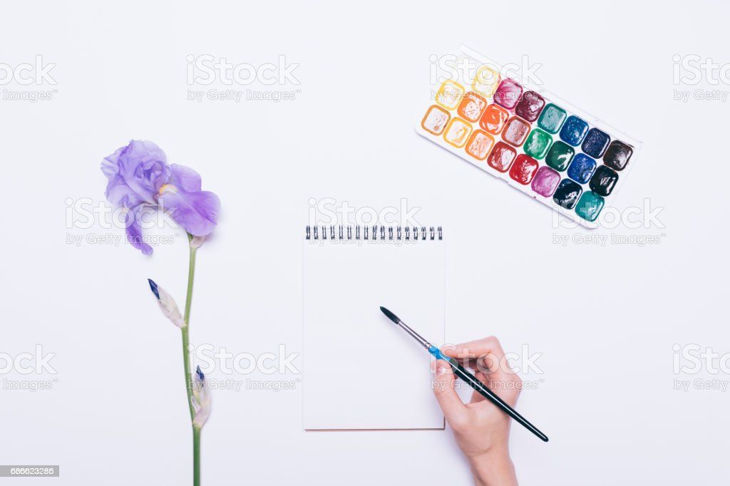 Girl draws in a notebook with watercolors royalty-free stock photo