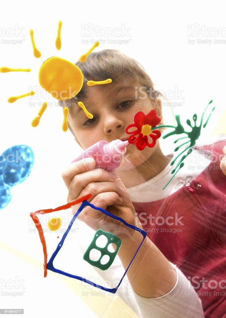 Girl draws on Glass royalty-free stock photo