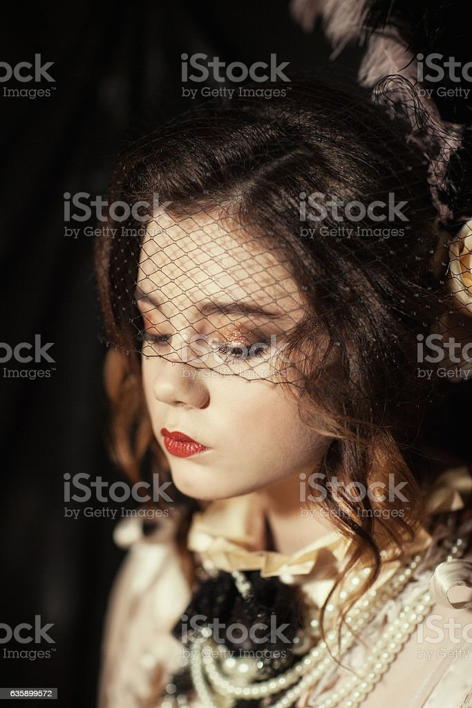 girl dressed in the style of Rococo stock photo