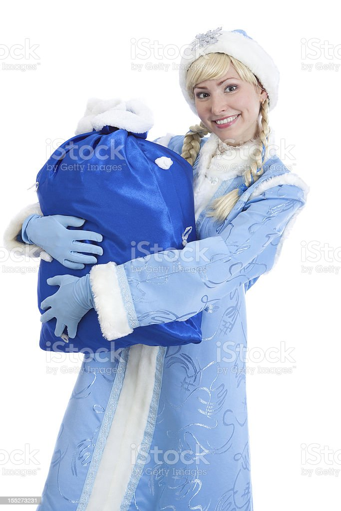 girl dressed in traditional russian christmas costume with big present royalty-free stock photo