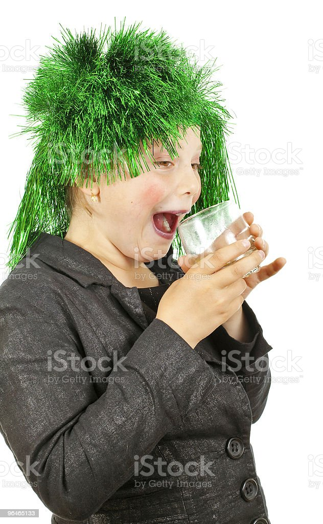 Girl drink juice royalty-free stock photo