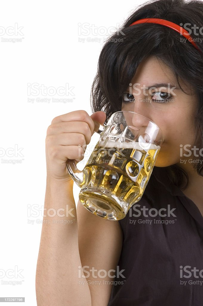 girl drinking beer royalty-free stock photo