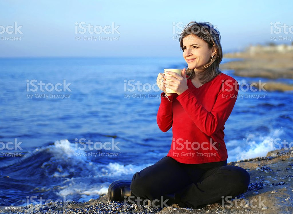 Girl drinking coffee royalty-free stock photo