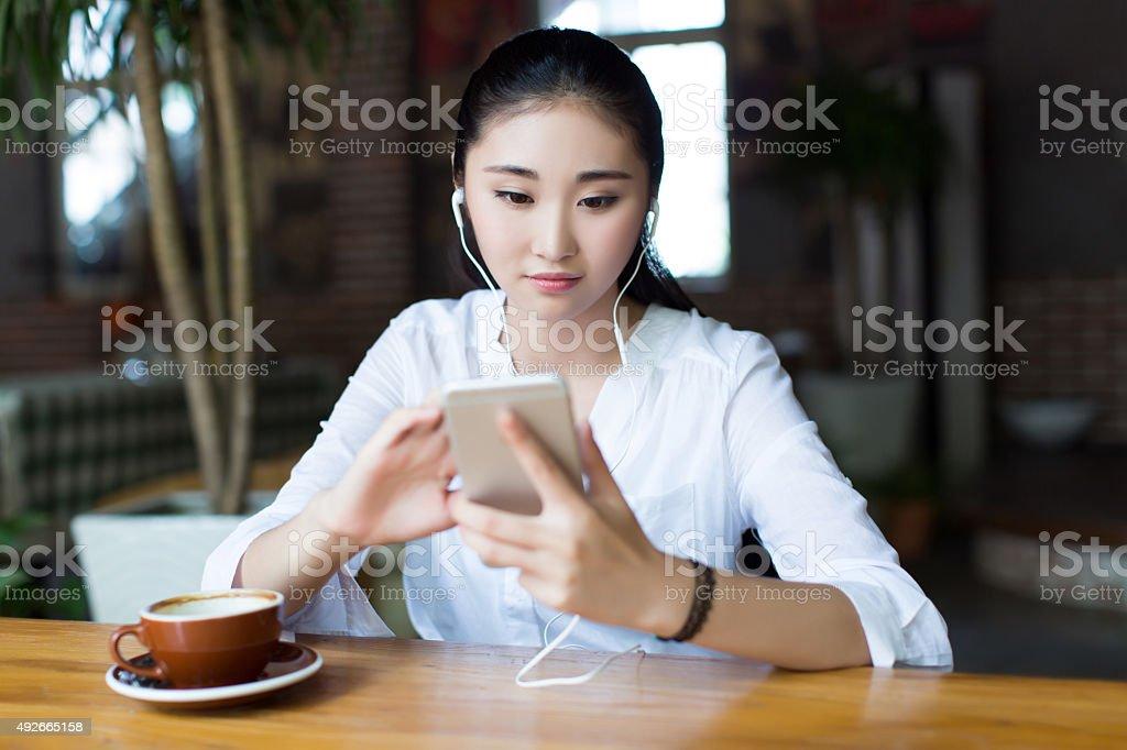 girl drinking coffee stock photo