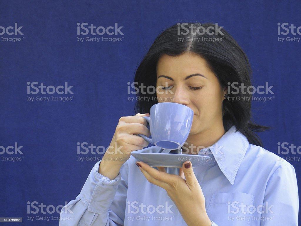 Girl drinking coffee royalty-free stock photo