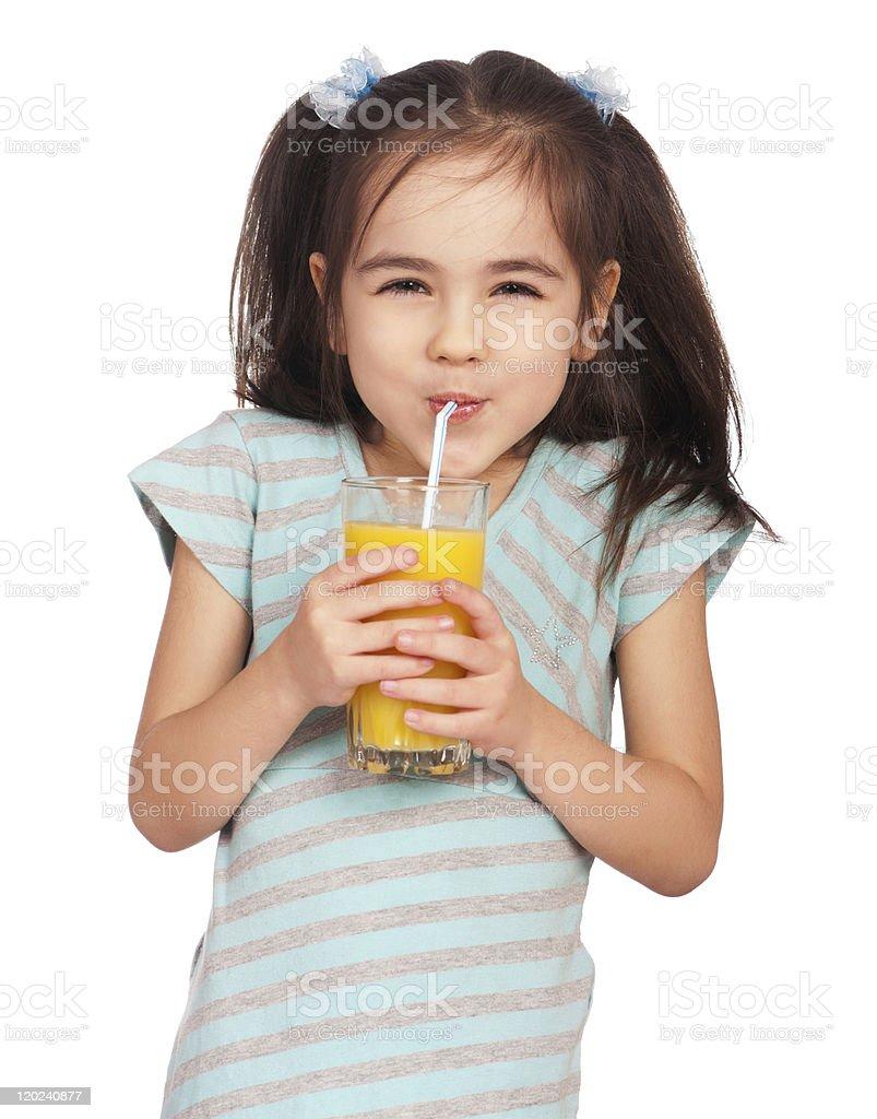 Girl drinking juice royalty-free stock photo