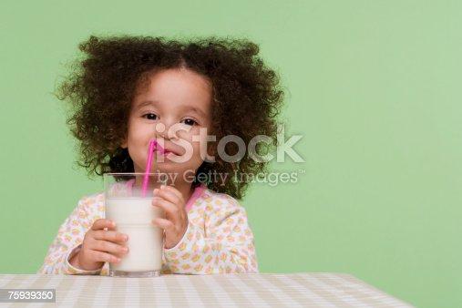 istock Girl drinking milk 75939350