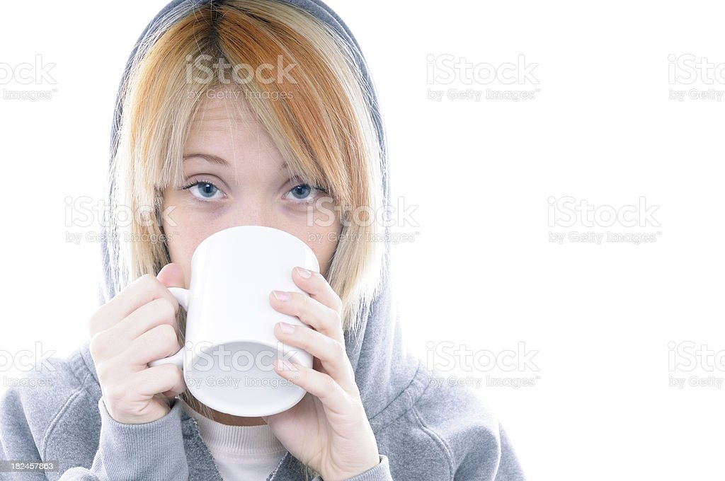 Girl Drinking Portrait,Isolated.Copyspace royalty-free stock photo