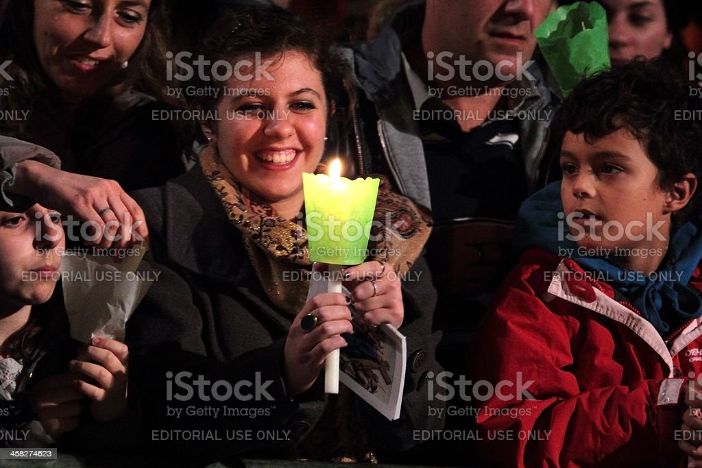 Girl during Stations of the Cross chaired by Pope Francis stock photo