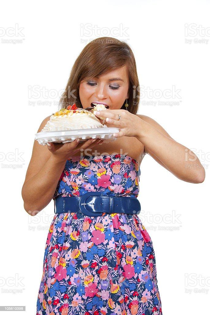Girl eat cake royalty-free stock photo