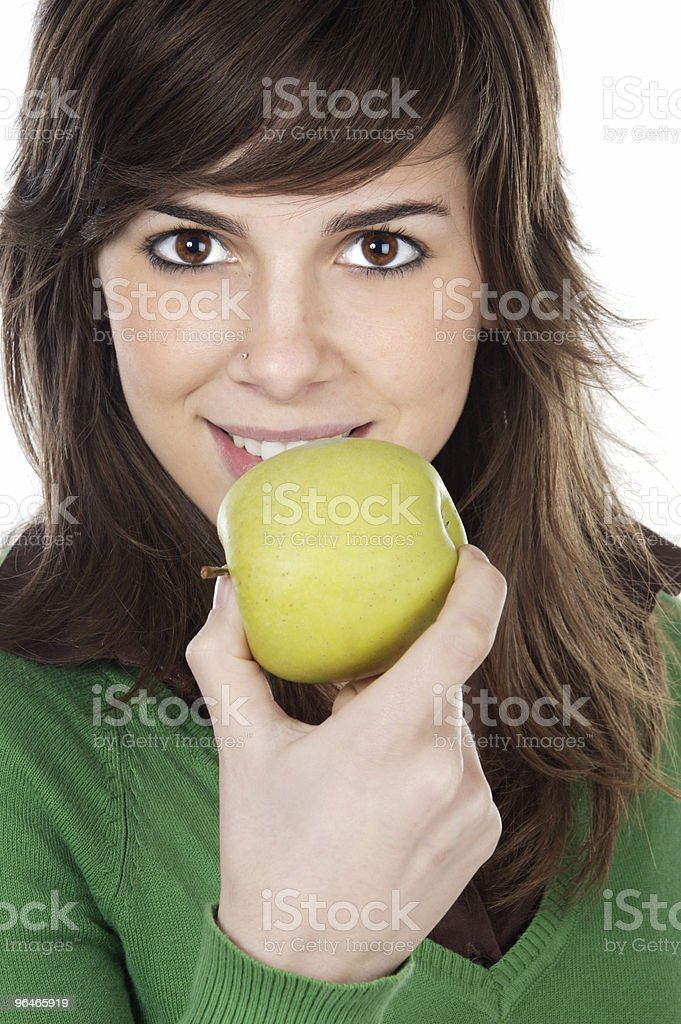 girl eating a apple royalty-free stock photo