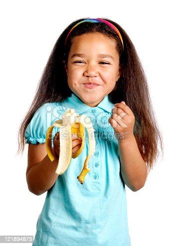 Little girl holding a half-eaten banana. (White background)  [url=http://bit.ly/sbl0UN][img]http://nicolesyoung.com/istock/lightboxes/happychildren.png[/img][/url]  [url=http://bit.ly/sQ2o2Q][img]http://nicolesyoung.com/istock/lightboxes/arayaprince.png[/img][/url]  [url=http://bit.ly/tpTBhL][img]http://nicolesyoung.com/istock/lightboxes/whitebackground.png[/img][/url]