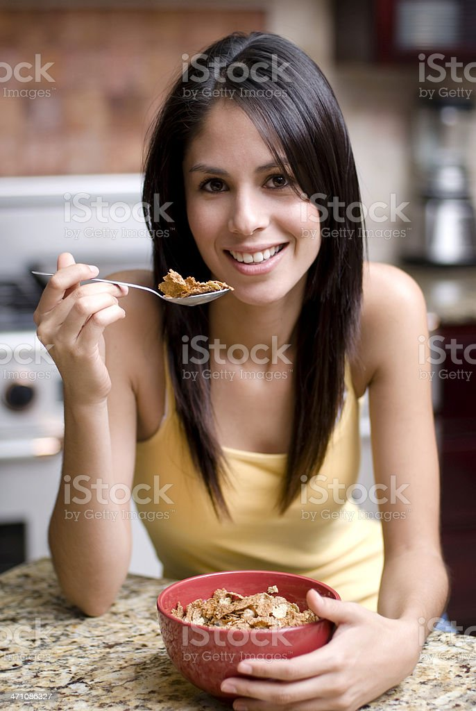 Girl eating cereal royalty-free stock photo