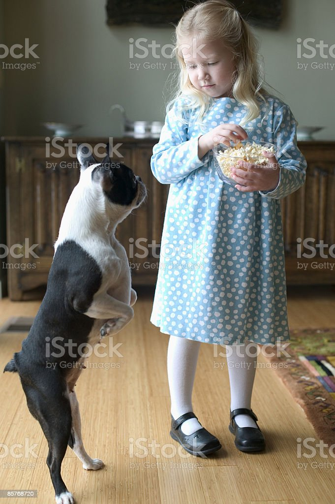Girl eating pop corn with dog looking at her photo libre de droits