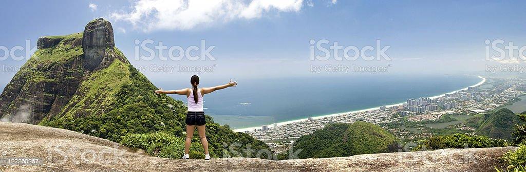 Girl embracing the city - Rio de Janeiro stock photo