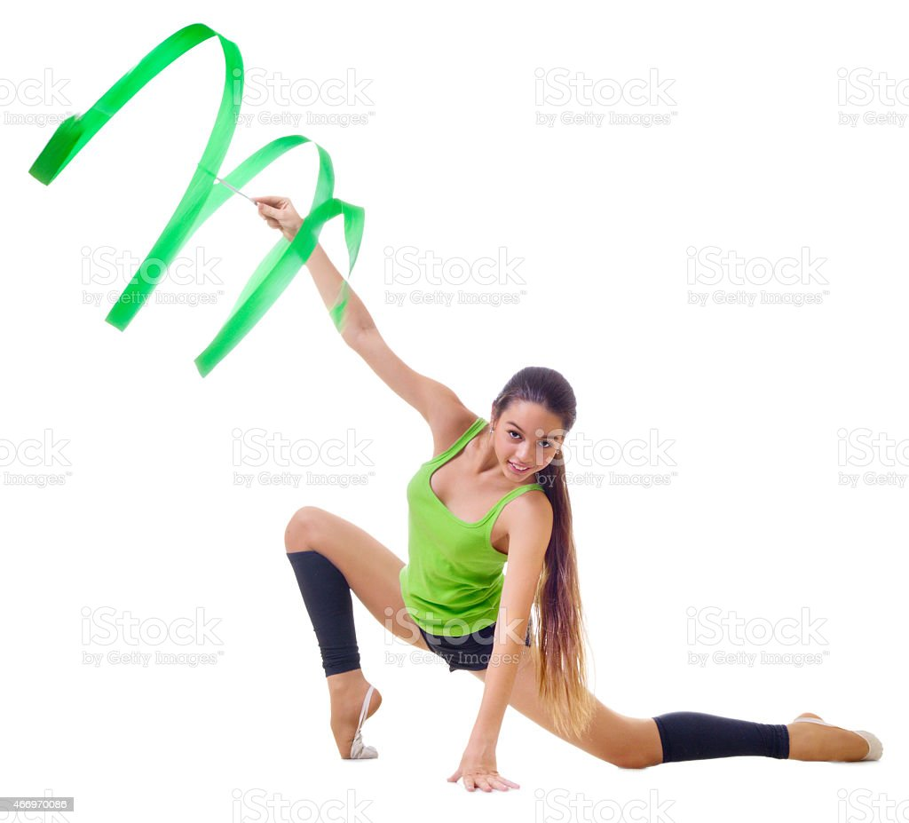 Girl engaged art gymnastics stock photo
