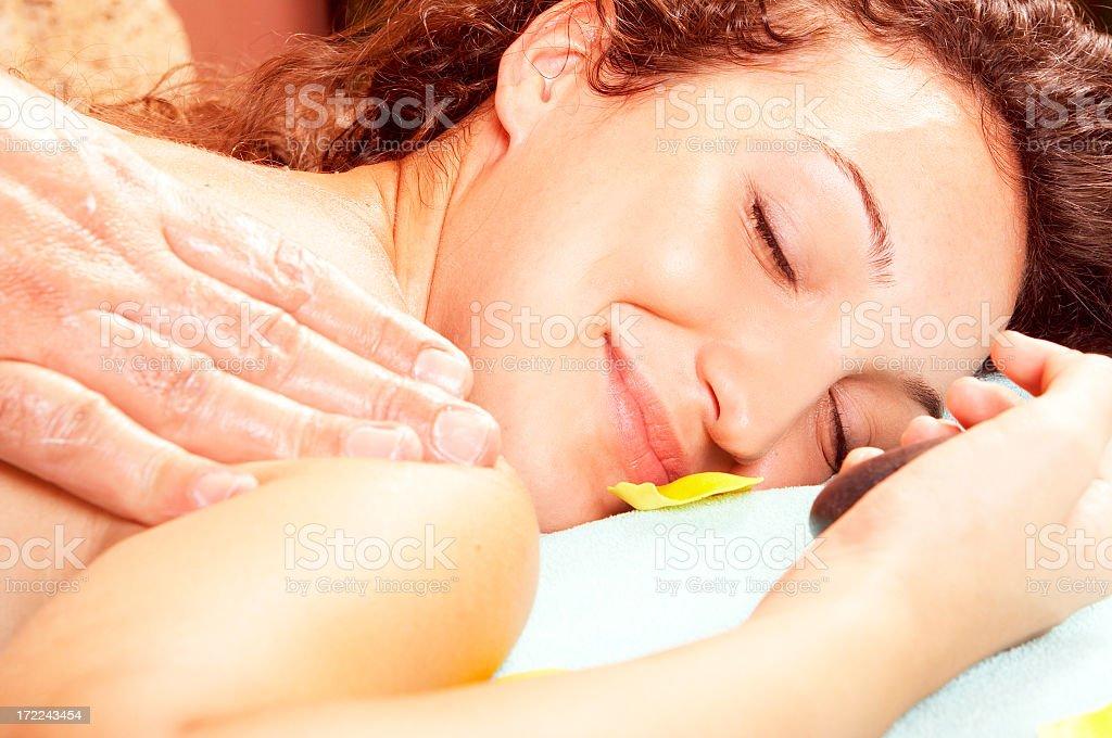 Girl enjoy back massage royalty-free stock photo