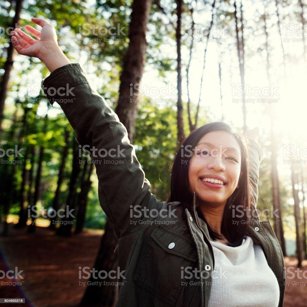 Girl Enjoying Freedom Outdoors Concept stock photo