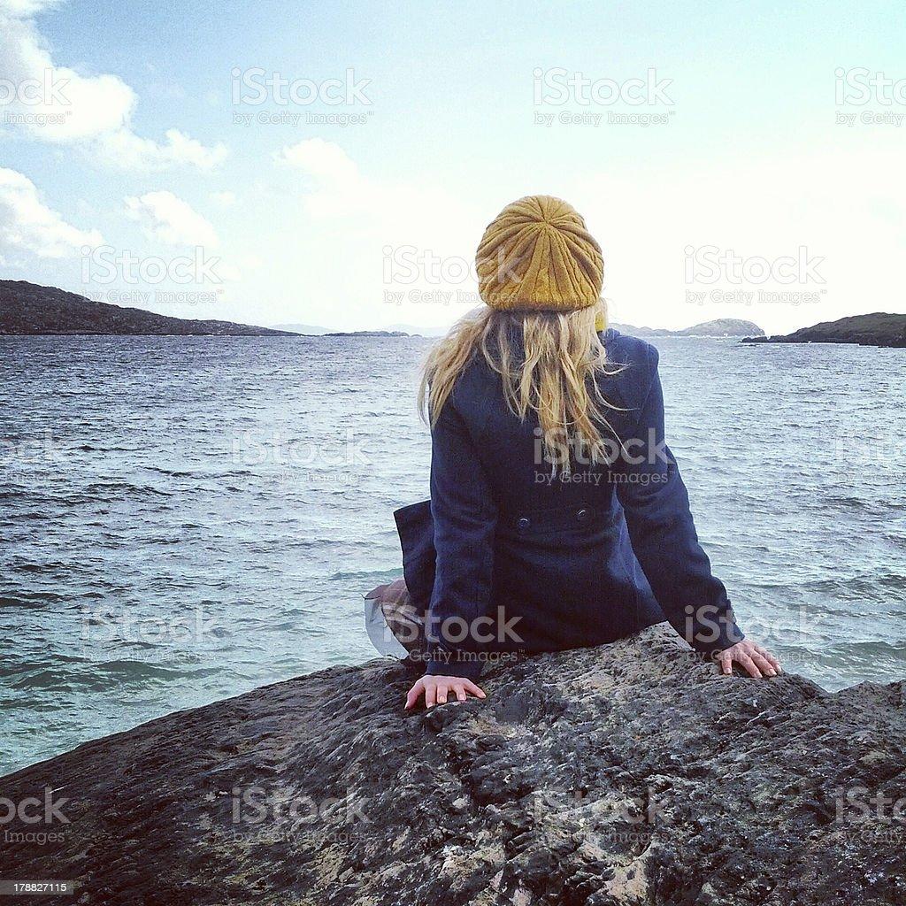 Girl Enjoying Life and Nature stock photo