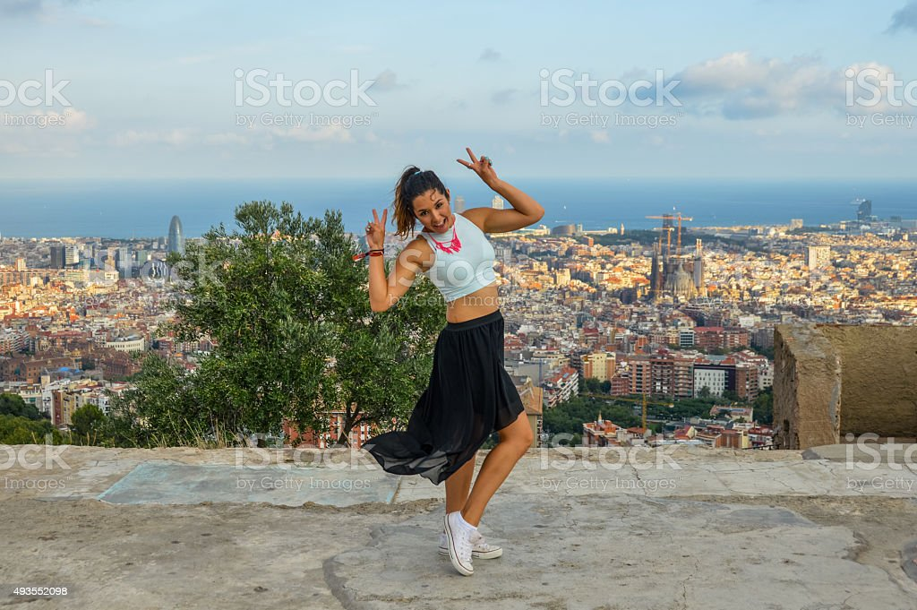 Girl enjoying life in Barcelona stock photo