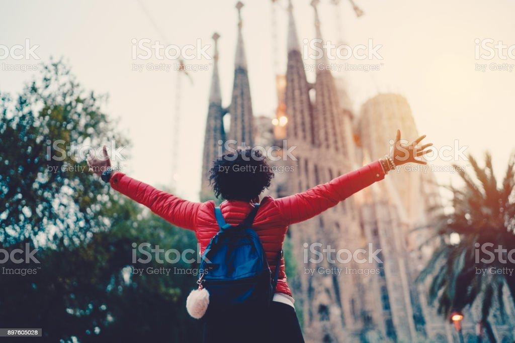 Girl enjoying Sagrada Familia,Barcelona stock photo
