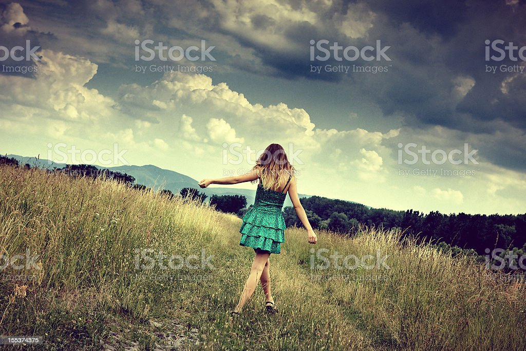 girl enjoying the nature royalty-free stock photo