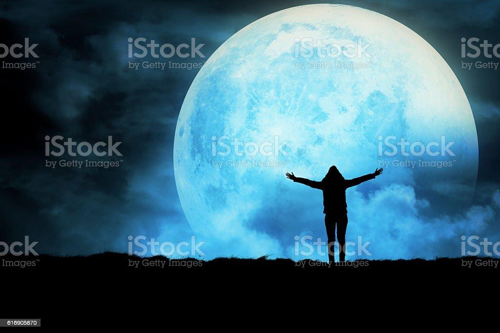 Girl enjoying the night sky. stock photo