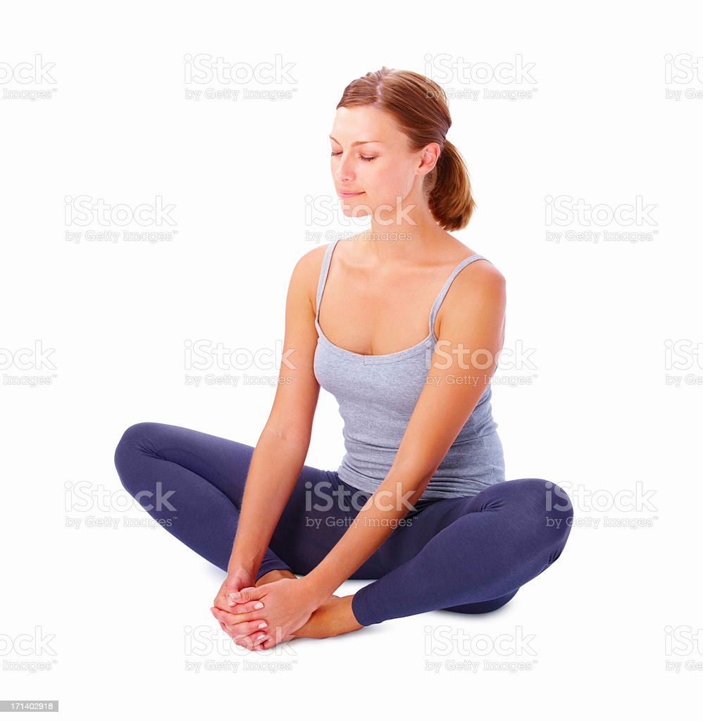 Girl exercising isolated on white background stock photo