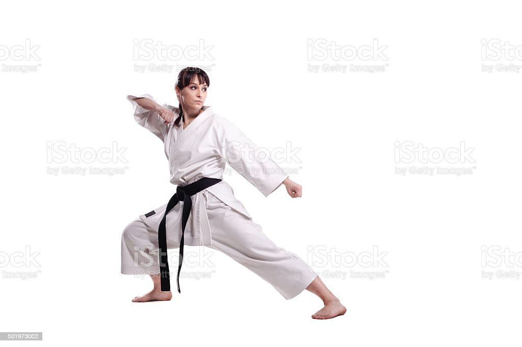girl exercising karate stock photo