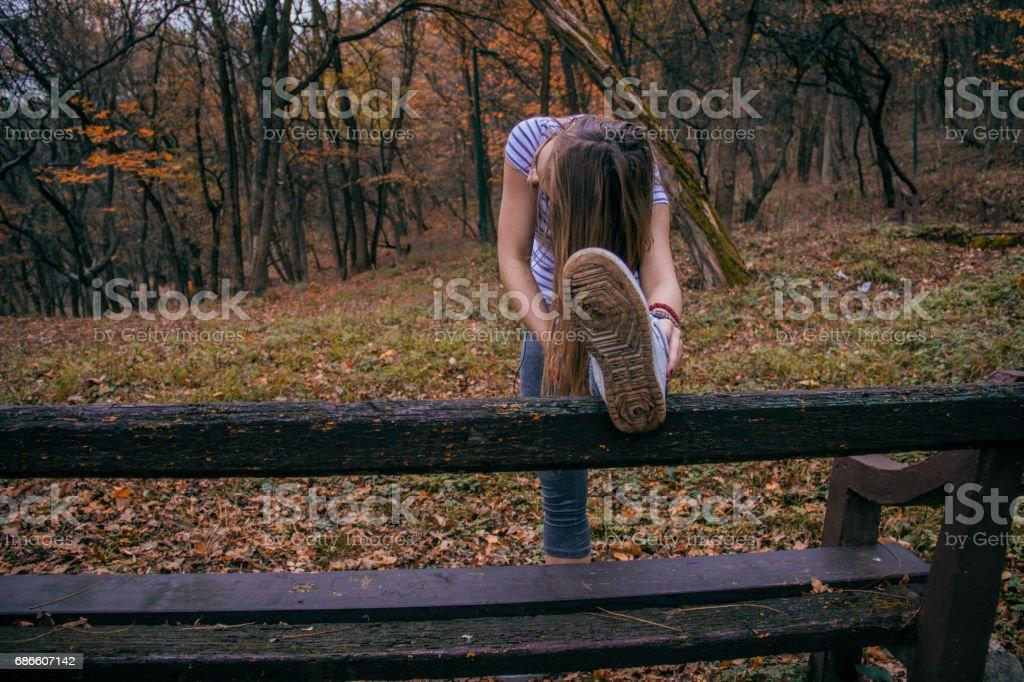 Girl exercising outdoors royalty-free stock photo