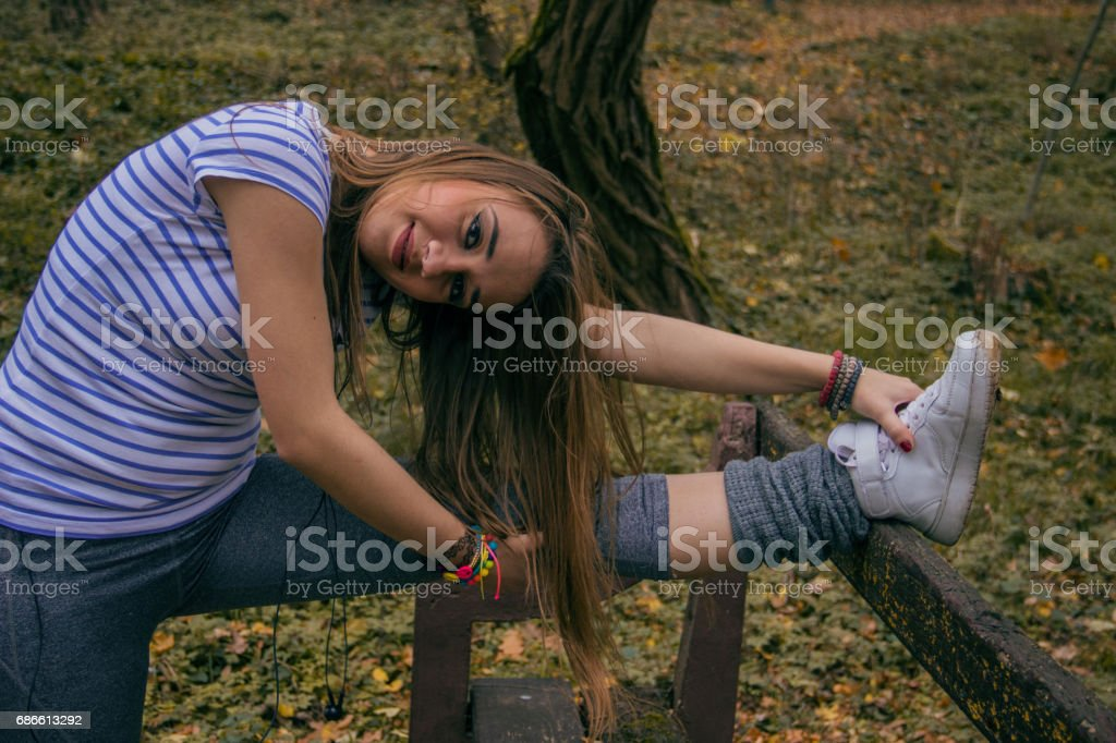 Girl exercising outdoors royalty-free stock photo